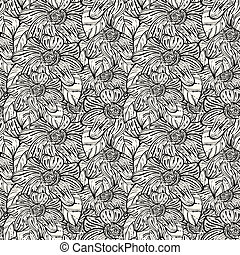 vector seamless monochrome pattern with abstract flowers
