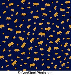 seamless New Year 2019 background with pigs