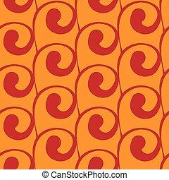 Vector seamless orange background with red swirls