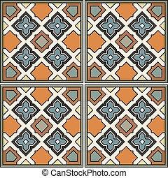 Vector seamless ornamental tile background. Italian style. Bright illustration.