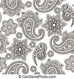 vector, seamless, paisley, achtergrond