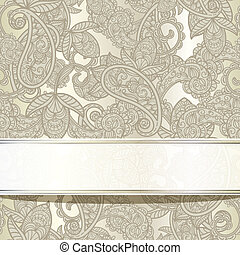 vector seamless paisley background with frame for your text