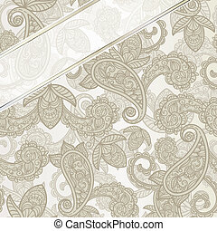 vector seamless paisley background with ribbons