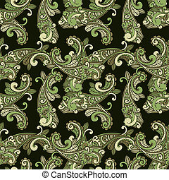 vector seamless paisley pattern in green