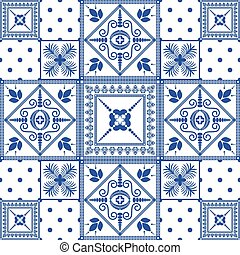 Vector seamless patchwork background. Navy blue tiles. -...