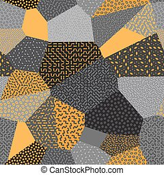 Vector Seamless Patchwork Mosaic Quilt Pattern in Orange and Gray
