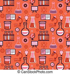 vector, seamless, patrón, -, ciencia, y, educación