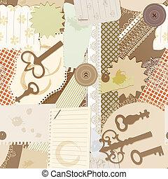 vector, seamless, patrón, con, álbum de recortes, diseño, elements:, vendimia, llave, rasgado, pedazos, de, papel, salpicaduras, de, café, servilletas