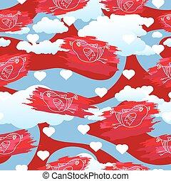 vector, seamless, patrón, con, aves, y, corazones, en, nublado, fondo.