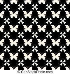 vector, seamless, patrón, con, butterflies., elegante, gráfico, texture.