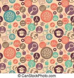 vector, seamless, patrón, con, educación, iconos