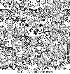 vector, seamless, patrón, con, garabato, búhos
