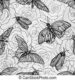 vector, seamless, patrón, con, mariposas, en, roses., elegante, gráfico, texture., monocromo, repetir, impresión