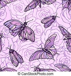 vector, seamless, patrón, con, mariposas, en, suave, rosa, colores, en, roses., elegante, gráfico, textura