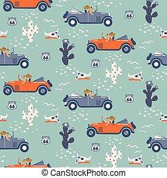 vector, seamless, patrón, con, perros, en, coches, en, desert.