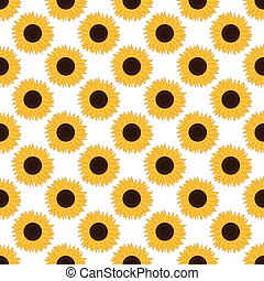 vector, seamless, patrón, con, sunflowers., girasol, seamless, pattern.