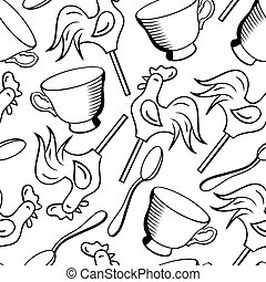 vector, seamless, patrón, con, tazas, cucharas, y