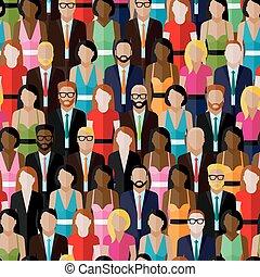 vector, seamless, patrón, con, un, grupo grande, de, hombres, y, women., fla