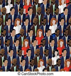 vector, seamless, patrón, con, un, grupo grande, de, well-dresses, ladie