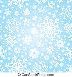 vector, seamless, patrón, copos de nieve