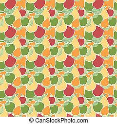 vector, seamless, patrón, de, fruta