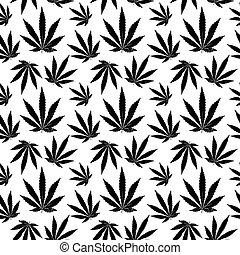 vector, seamless, patrón, de, hoja cannabis