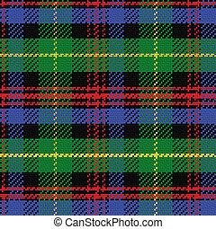 vector, seamless, patrón, escocés, tartán, negro, reloj
