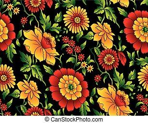 vector, seamless, patrón floral, en, fondo negro