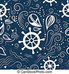 vector, seamless, patrón, vida marina
