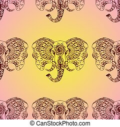 Vector seamless pattern abstract elephant