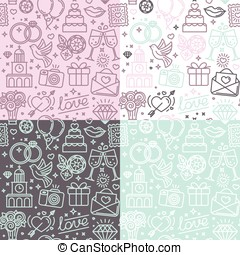 Vector seamless pattern and background for wedding invitations