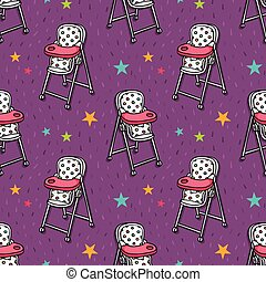 Vector seamless pattern baby chair