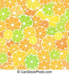 Vector seamless Pattern background. sliced halves of citrus...