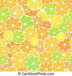 Vector seamless Pattern background. sliced halves of citrus...