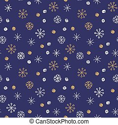 Vector seamless pattern background. Winter snowflakes and snowballs on blue background. Can be used for fashion, textile, scrapbooking, wall paper and decoration projects