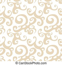 Vector seamless pattern background with brown swirl.