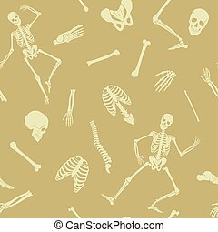 Vector Seamless pattern, background with dancing skeletons and various single bones and skulls.