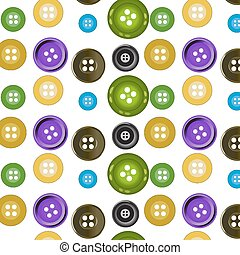 Vector seamless pattern. Bright colors buttons on white backgrou
