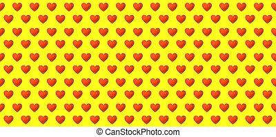 Vector Seamless Pattern, Colorful Painting of Hearts on Bright Yellow Background, Wedding Background.