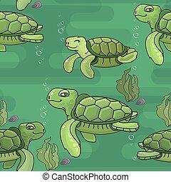 Vector seamless pattern. Cute cartoon green sea Turtle.