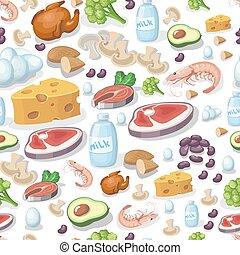 Vector seamless pattern dairy products, vegetables, meat products, nuts, chicken, cheese and milk