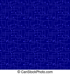 Vector seamless pattern - electronic blue circuit board.
