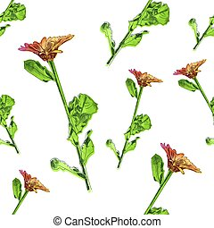 Vector Seamless Pattern, Floral Background, Flower with Leaves Drawings, Watercolor Painted Illustration.