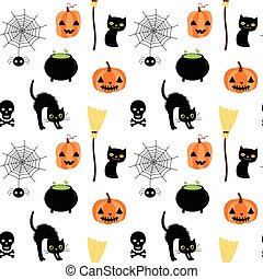 Vector seamless pattern for Halloween with spider, skull and cats one white background