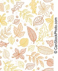 vector seamless pattern from doodle hand drawn autumn leaves