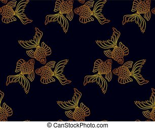 Vector seamless pattern from golden goldfish on dark ...