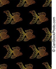Vector seamless pattern from gradient golden gold fish on ...