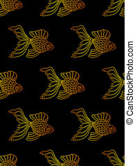 Vector seamless pattern from gradient golden gold fish on...