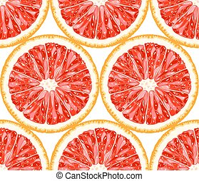 Vector seamless pattern from grapefruit slices. Citrus background