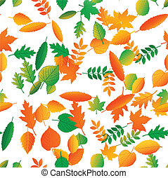 Vector seamless pattern from leaves of trees